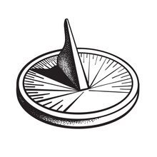 Sundial. Sun Clock. Black And White Hand Drawn Vector.