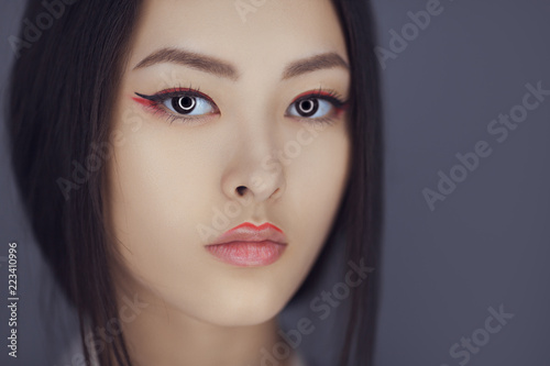 Serious Asian Beauty Woman Skin Care Close Up Beautiful Young With Perfect