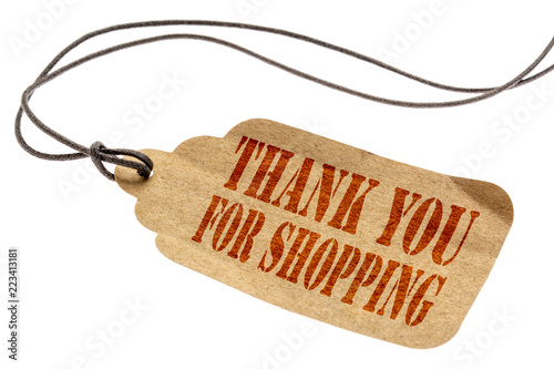 Fotografie, Obraz  Thank you for shopping sign on price tag