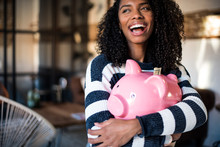 Black Woman Hugging Her Piggy ...