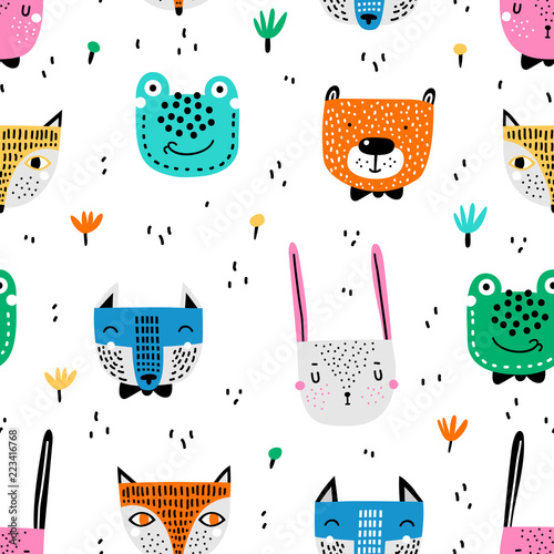 fototapeta na ścianę Childish seamless pattern with hand drawn animals. Trendy scandinavian vector background. Vector texture in childish style great for fabric and textile, wallpapers, backgrounds.