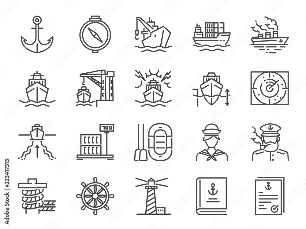 Fototapeta Marine port icon set. Included icons as sea freight services, ship, Shipping, cargo, container and more.