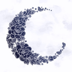 NaklejkaBeautiful romantic crescent moon