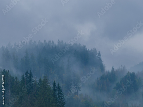 Poster Morning with fog The Carpathian mountains landscape during mist in the autumn season