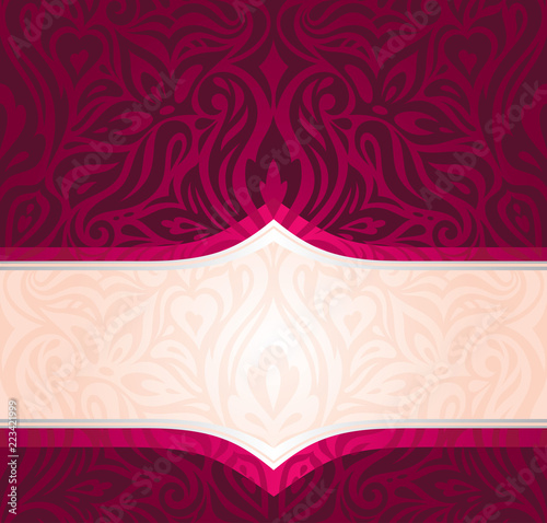 Royal Red Floral Background With Silver Elements Luxury