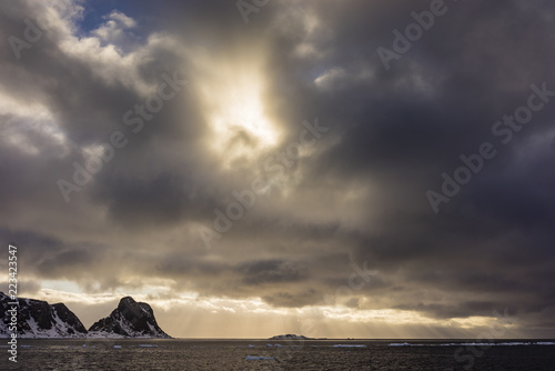 Moody sky over Arctic Ocean at sunset, Forlandsundet, Spitsbergen, Svalbard and Jan Mayen, Norway