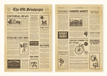 Newspaper Pages In Vintage Des...