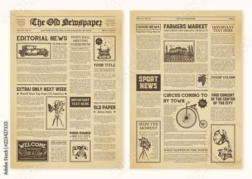 Cuadros en Lienzo Newspaper Pages In Vintage Design