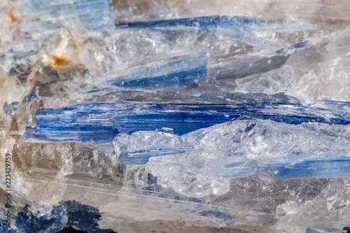 Fotobehang Gletsjers Macro mineral stone Kyanite a white background