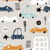 Bezszwowy wzór z ręka rysującym ślicznym samochodem. Kreskówka samochody, znak drogowy, ilustracji wektorowych przejścia dla pieszych. Idealny dla dzieci tkaniny, tkaniny, tapety przedszkola - 223431148