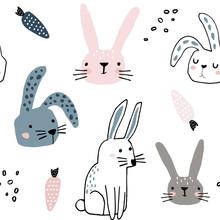 Seamless Pattern With Cute Bun...