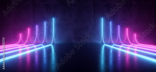 Fotografía  Futuristic Sci-Fi Modern Empty Stage Reflective Concrete Room With Purple And Bl