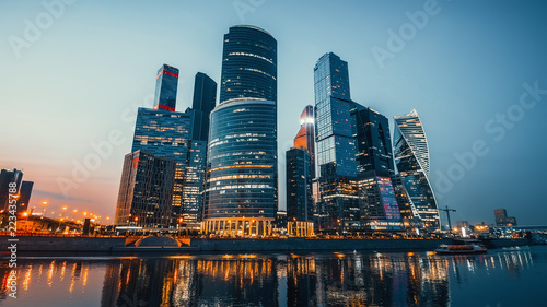 Fotobehang Moskou Panoramic view of Moscow city and Moskva River after sunset. New modern futuristic skyscrapers of Moscow-City - International Business Center