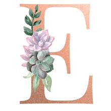 Watercolor Monogram Alphabet Letter E Rose Gold Foil