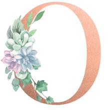 Watercolor Monogram Alphabet Letter O Rose Gold Foil