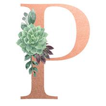 Watercolor Monogram Alphabet Letter P Rose Gold Foil
