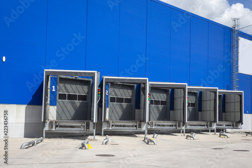 Loading dock at a warehouse. modern logistics center. docking stations of a distribution center.
