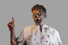 Closeup Scary Zombie On Grey Background