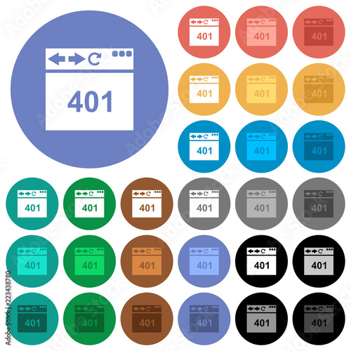 Fotografie, Obraz  Browser 401 Unauthorized round flat multi colored icons