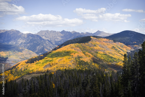 Staande foto Grijze traf. Autumn, landscape view of the Gore Range and Golden Peak in Vail, Colorado.