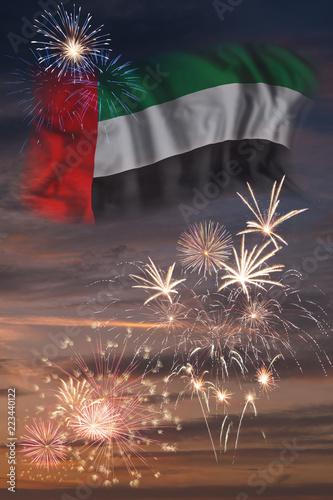 Fotografie, Obraz  Fireworks and flag of United Arab Emirates