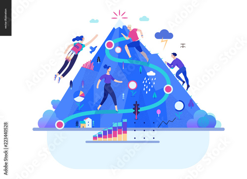 Fotografiet  Business series, color 1- career -modern flat vector illustration concept of career - people climbing the mountain