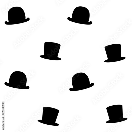 b13b0fcd2ea28 Vector pattern illustration with black silhouettes of gentleman s hats  bowler  hat and cylinder hat
