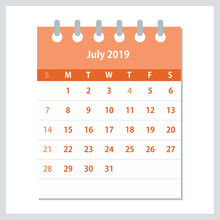 July 2019 Calendar Leaf. Month...