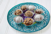 Homemade Chocolate Truffles Each In Its Own Foil Cup.