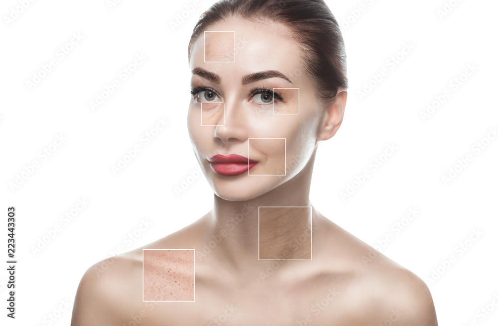 Fototapeta Portrait of a beautiful woman on a white background, on the face are visible areas of problem skin - wrinkles and freckles. Cosmetology concept.