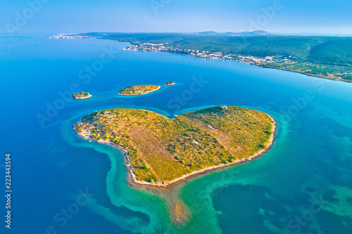 In de dag Kust Heart shaped island of Galesnjak in Zadar archipelago aerial view