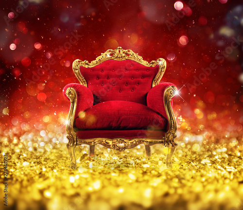 Red and gold luxury armchair into an sparkle room Canvas Print