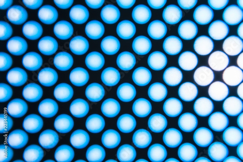 Fotografering  blur blue abstract background on based of metal, circles and shadows, texture of