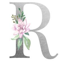 Watercolor Monogram Alphabet Letter R Silver Foil