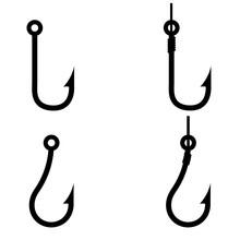 Fishing Hook Icon, Silhouette, Logo On White Background