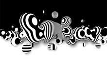 Metaball 3d Vector Design, With Organic 3d Effect. Abstract Black And White Background .