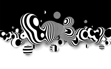 FototapetaMetaball 3d vector design, with organic 3d effect. Abstract black and white background .