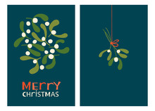Christmas Holiday Greeting Cards With Mistletoe. Xmas Winter Poster Collection
