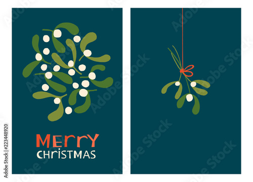 Fotografie, Obraz Christmas Holiday Greeting Cards with Mistletoe
