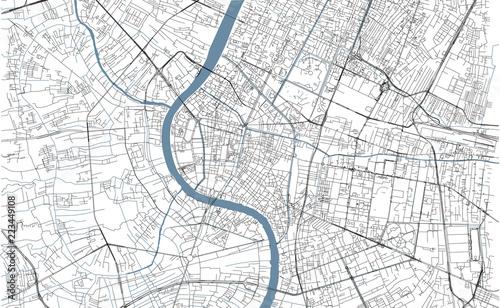 Fotografie, Obraz Cartina di Bangkok, vista satellitare, città, Thailandia