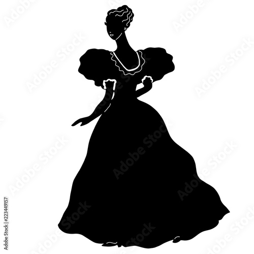 Photographie  Lovely female ball gown silhouette in vintage style