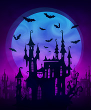 Big Blue Moon With Scary Castle And Bats Silhouettes On Dark Violet Background. Vector Halloween Poster Backdrop