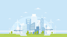 Vector Illustration Of Eco City Skyline With Buildings, Solar Panels, Wind Turbines And High Speed Trains On Light Blue Sky. Concept Of Eco Living In Flat Style.
