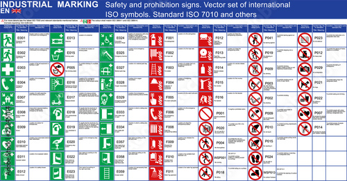 Obraz Set of vector safety signs prohibition signs buildings applications. ISO 7010 standard vector safety symbols. Vector graphic safety symbols signs marks Emergency exit fire extinguisher door ladder - fototapety do salonu