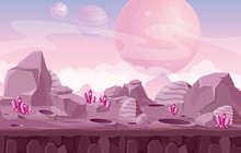 Vector Illustration Of Beautiful Alien Landscape, Space Background In Pink Colors For Game Design.