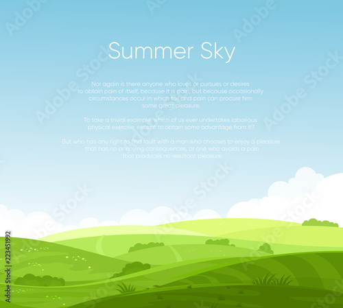 Fotobehang Pool Vector illustration of fields landscape with beautiful dawn, green hills, bright color blue sky with place for your text, background in flat cartoon style.