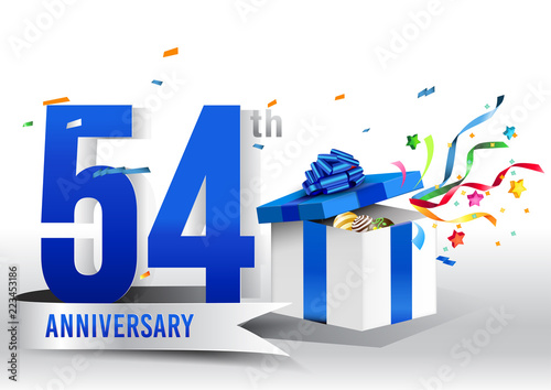 Fotografia  54 years anniversary background with ribbon, confetti and gift on white