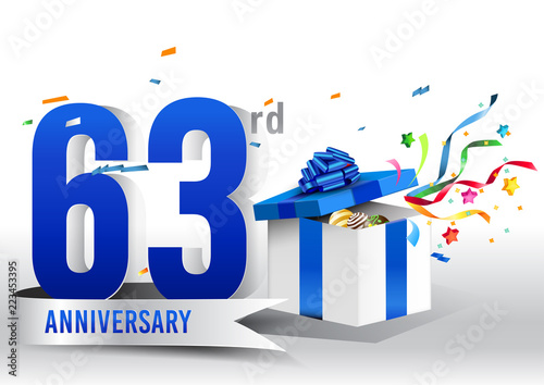 Fotografia  63 years anniversary background with ribbon, confetti and gift on white