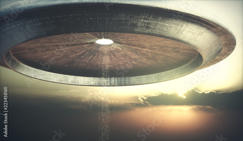 3D illustration of UFO. Alien spacecraft teleporting aliens to the ground.