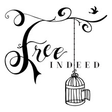 Vector Free Indeed Design With Hand Drawn Lettered Tree Branches, Bird Cage, Flying Bird, And Text.